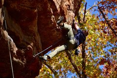 Rock Climbing Photo: William gets a heel hook to help him get through t...