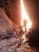 Rock Climbing Photo: The narrow exit right after Mid-evil Chamber, Bill...