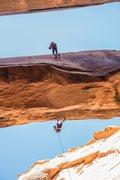 Rock Climbing Photo: Simul Rap on Morning Glory Arch, Moab UT