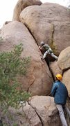 Rock Climbing Photo: Joey launching off on the crux moves on the first ...