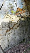 Alcove Boulder with newly cleaned topouts.