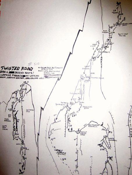 Topo; Twisted Road V 5.12 Watkins Pinnacle
