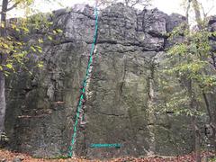 Rock Climbing Photo: Ghostwalker (5.3) at The Main Wall Wolf Rock at Ca...