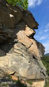Large overhang on the upper right section of the Bluff. I honestly couldn't see a way to climb it