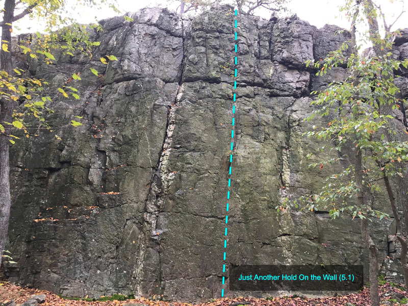 Just Another Hold On the Wall (5.1) at The Main Wall<br> Wolf Rock at Catoctin Mountain Park