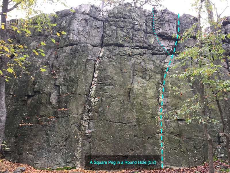 A Round Peg in a Square Hole (5.2) at The Main Wall<br> Wolf Rock, Catoctin Mountain Park