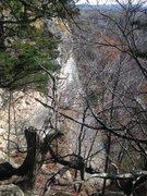 Rock Climbing Photo: Artifact Wall as seen from top of cliff