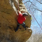 Rock Climbing Photo: Reach in for the fist jam, then left foot up to ga...