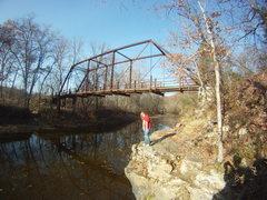 Rock Climbing Photo: Park and cross the bridge