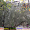 Starting holds at the Y Crack area at Wolf Rock<br> Catoctin Mountain Park, Maryland