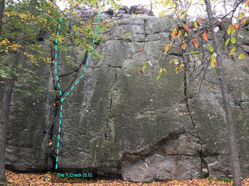 The Y Crack (5.0) at The Main Wall<br> Wolf Rock, Catoctin Mountain Park