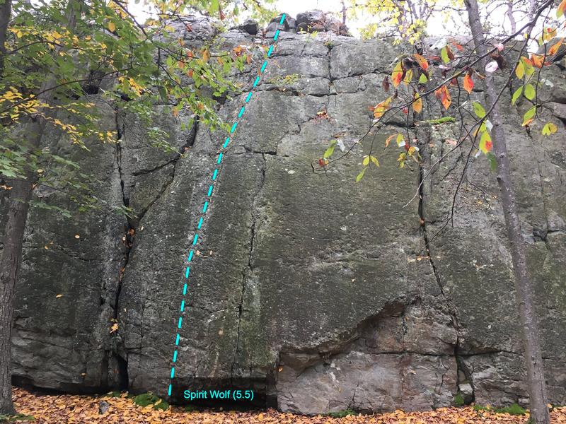 Rock Climbing Photo: Spirit Wolf (5.5) at The Main Wall Wolf Rock, Cato...