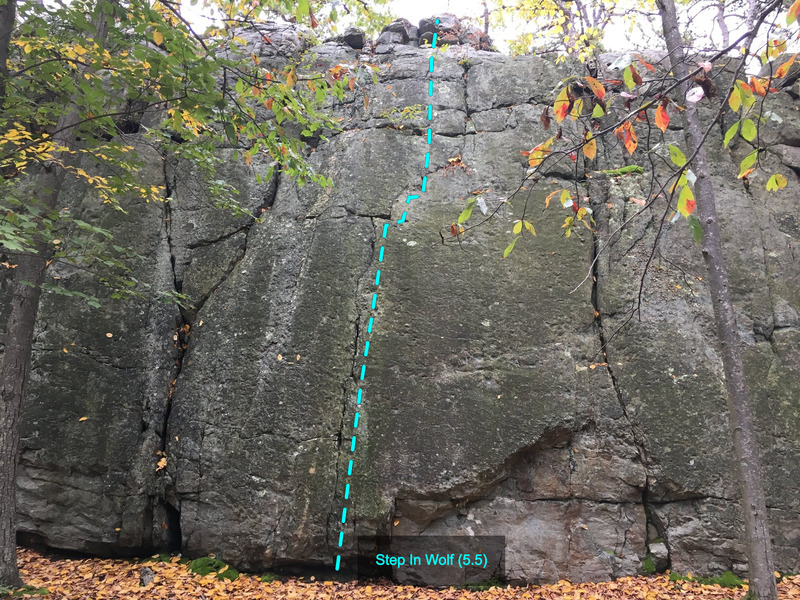 Rock Climbing Photo: Step In Wolf (5.5) at The Main Wall Wolf Rock, Cat...