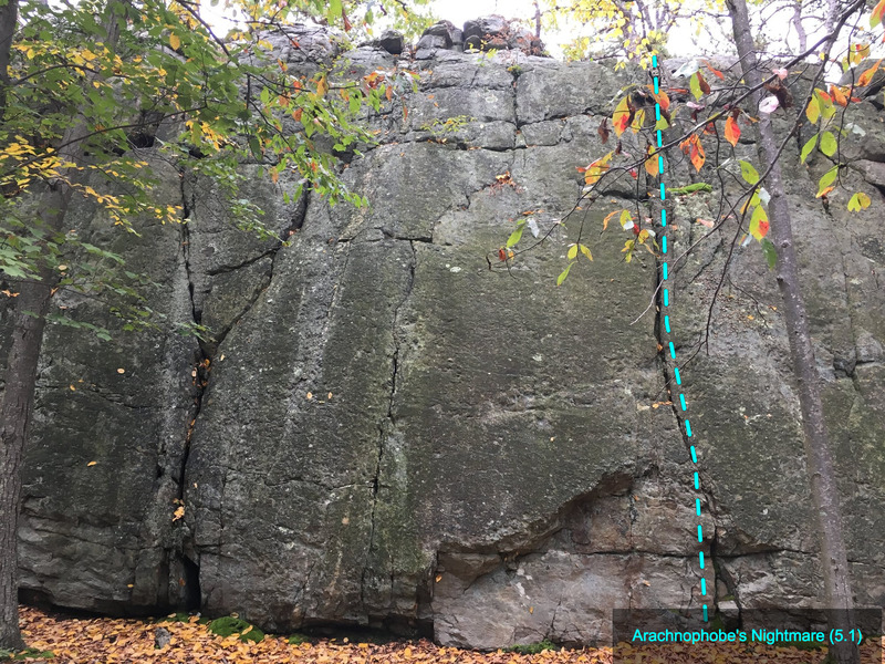 Arachnophobe's Nightmare (5.1) at The Main Wall<br> Wolf Rock, Catoctin Mountain Park