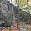 Side view of Arachnophobe&#39;s Nightmare (5.1) and the right end of The Main Wall<br> Wolf Rock, Catoctin Mountain Park