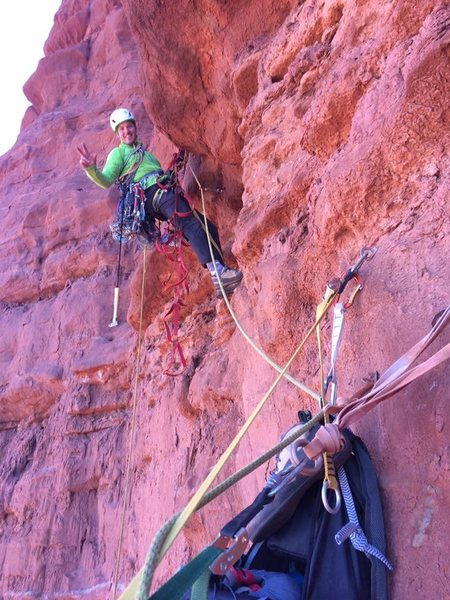 starting up the crux pitch and psyched!