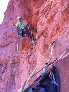 Rock Climbing Photo: starting up the crux pitch and psyched!