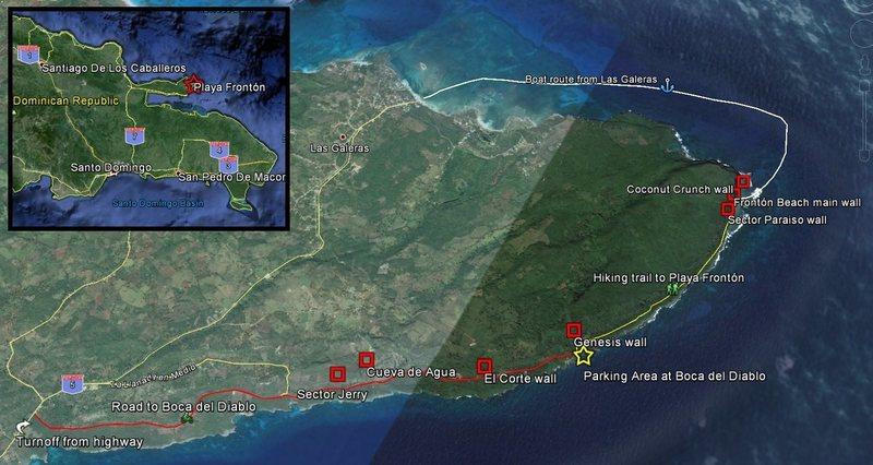 Climbing areas around Playa Fronton