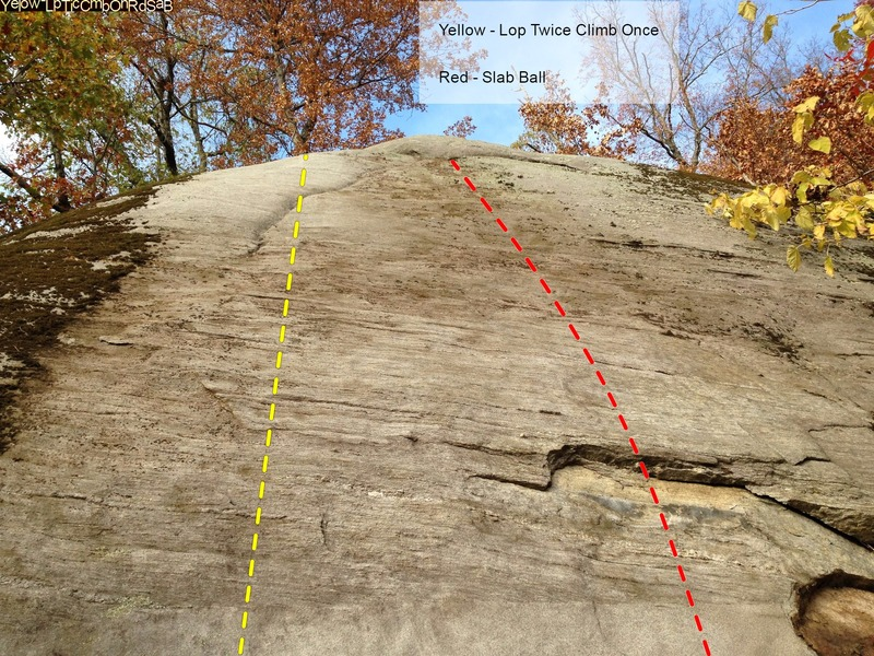 Highball slab boulder below the main face