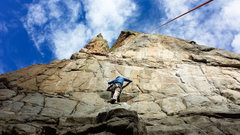Rock Climbing Photo: The rope shows the locations of the last 4 bolts a...