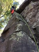 Rock Climbing Photo: Mason on what could be the FA of Crows Nest.