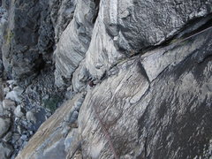 Rock Climbing Photo: Maxime follows up the combined P1/P2 for 210' ...
