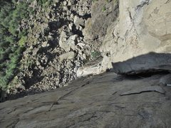 Rock Climbing Photo: Maxime looking up P4 and contemplating the wide se...