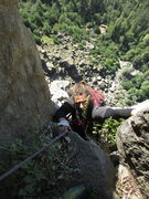 Rock Climbing Photo: Maxime topping out on P4.