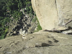 Rock Climbing Photo: Looking back down P5 at that next wide section up ...
