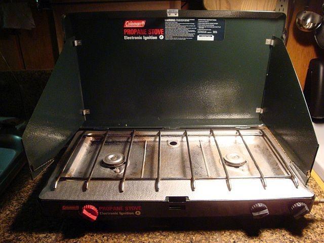 Coleman 2 burner propane stove.