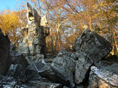 Rock Climbing Photo: The Wolf's Head Pillar at Wolf Rock catches th...