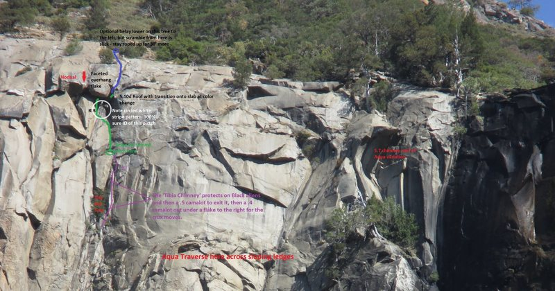 <br> Rock Climbing Photo: Here is a fully annotated topo pic for Pitches 3-7...<br> «PREV		<br> Rock Climbing Photo: Looking back down P5 at that next wide section up ...<br> »NEXT<br> &lt@SEMICOLON@&lt@SEMICOLON@ Back to Too Many Darts (Free Ascent)<br> Photo 1 of 10<br> Avg Score 	 0.0 from 0 votes<br> Your Score 	  <br> A shot of the top section of the wall showing the different roof systems and the last pitch relative to the Aqua Traverse.