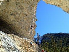 Rock Climbing Photo: The cave at carrot creek,Banff. Guerrilla warfare ...