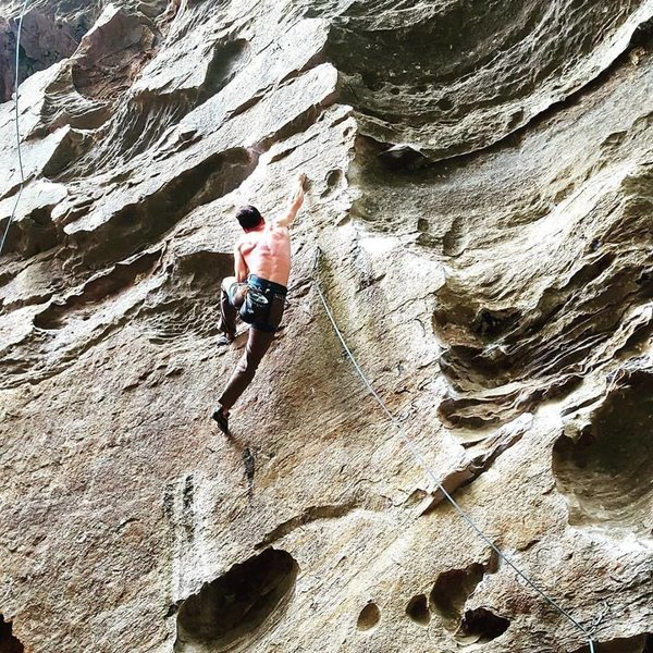 Rock Climbing Photo: Pulling the crux!