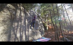 Rock Climbing Photo: Sticking the dyno on 'Midnight In A Perfect Wo...