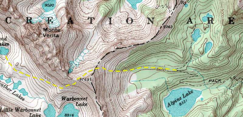 Approach from Alpine Lake, sidehill north of Pt. 9769 and continue into warbonnet lakes drainage.  Stay high on the northeast side of the valley to reach Bead Lakes