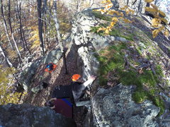 Rock Climbing Photo: Topping out at Cunningham Falls