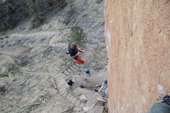 Rock Climbing Photo: Giant flake rips off as Quentin logs some air time...