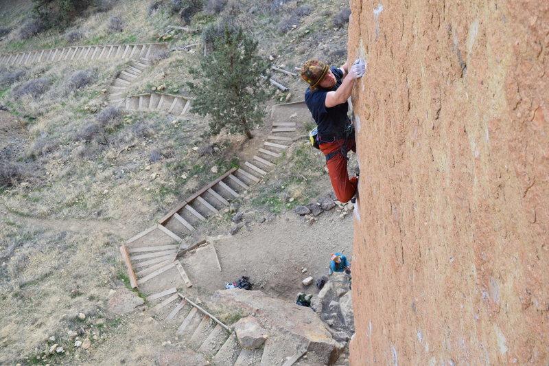 Rock Climbing Photo: Quentin cranking through the lower crux!