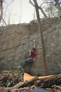 "Rock Climbing Photo: The line ""Cracked Vision"" follows the di..."