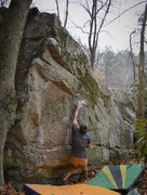 "Rock Climbing Photo: Brad reaching off the start on ""Watch Tower&q..."