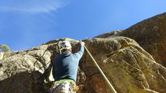 Rock Climbing Photo: At the second pitch crux, you can get a small, mar...
