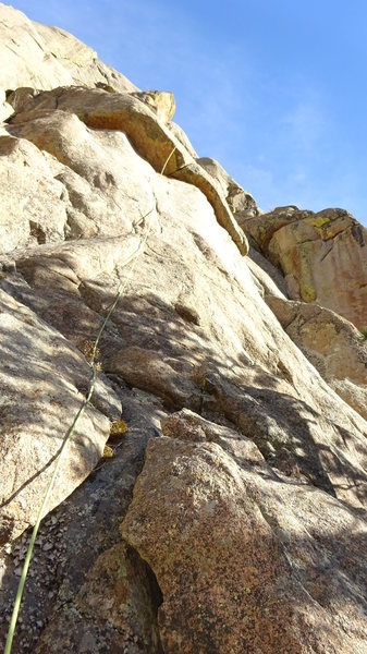 Steep, hard slab to the finger crack.  Sweet route.