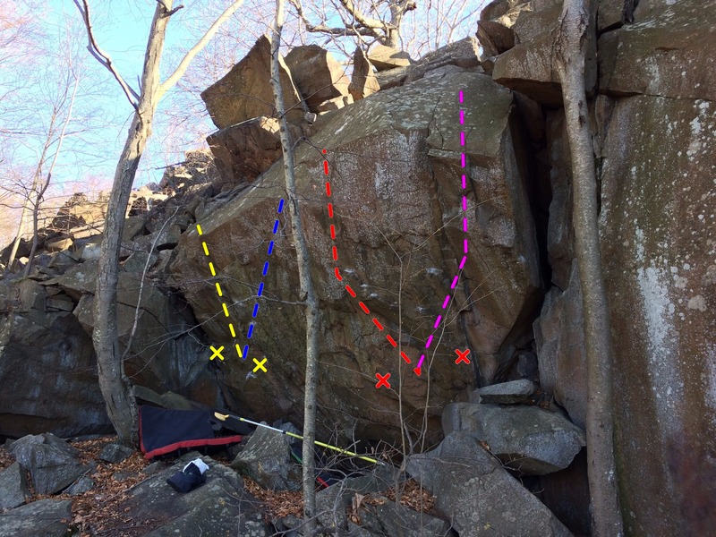 This is THE boulder of the area. It's 10-17 feet tall and 25-50 degrees overhanging. The rock is extremely high quality trap rock with great friction. Off the Chopping Block (V6) in yellow, project in blue, HARD project in red and highball project in purple. There is also potential for very hard low starts