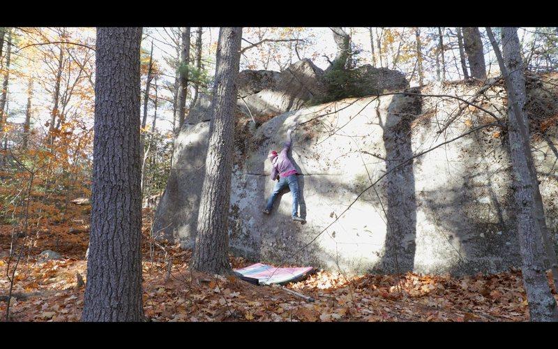 Rock Climbing Photo: Gaining the weird mono pocket on 'Mr. Big'...