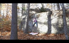 Rock Climbing Photo: Gaining the weird mono pocket on 'Mr. Big'...