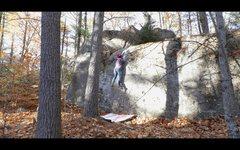 Rock Climbing Photo: Sticking the crux move on 'Mr. Big'.