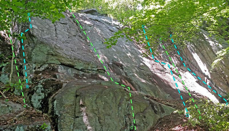 Rock Climbing Photo: Kitty Doll sector from SW: A. K Litter B. Kross Ri...