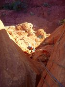 Rock Climbing Photo: Looking down the second pitch. Belay ledge in sun,...