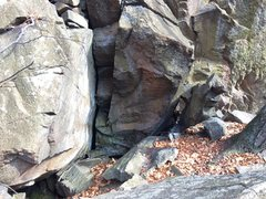 Rock Climbing Photo: Nice compression problem at the top of the white t...